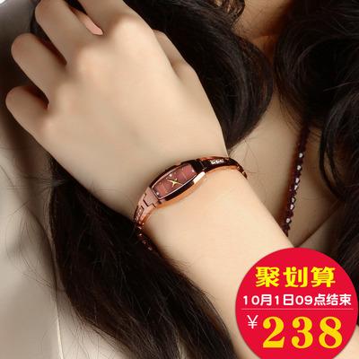 正品金仕盾手表女士石英表时尚款潮流简约小表盘韩版钨钢手链女表