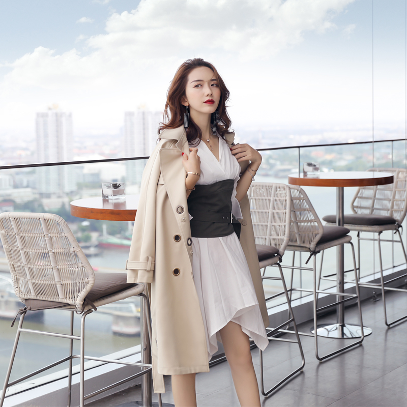 new windbreaker women's autumn long section slim temperament suit collar double-breasted long-sleeved solid color