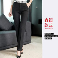 Suit pants autumn and winter thick black slim dress work pants high waist straight small feet trumpet trousers professional trousers female