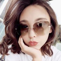 无框2019新款韩版潮彩色复古太阳眼镜明星款长圆脸网红街拍墨镜