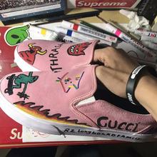 夏款翻毛皮低帮手绘DIY纯色懒人男女一脚蹬专业滑板鞋耐磨尖客潮