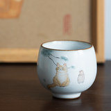 Jingdezhen hand-painted cat kiln ceramic tea cup open piece can be raised owner's single cup personal cup gift