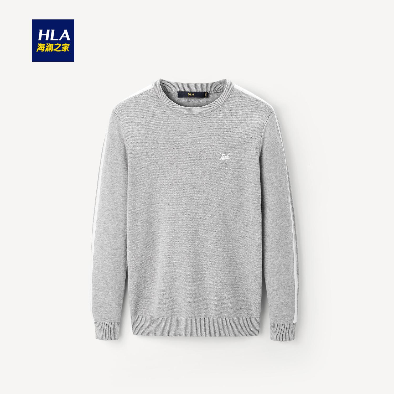 HLA/海澜之家时尚圆领长袖针织衫2019秋季新品运动感针织衫男