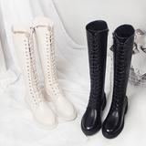 网红秋冬加绒米色中长筒靴韩版百搭中跟高筒靴瘦女靴子前系带潮靴