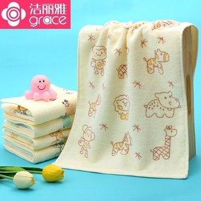 洁丽雅毛巾 纯棉割绒柔软吸水儿童洗脸中巾 宝宝洗澡小毛巾
