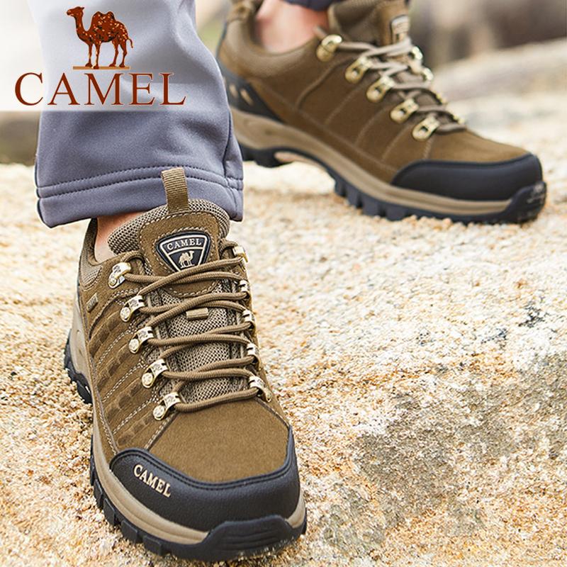 骆驼秋冬季防水防滑耐磨真皮低帮户外运动登山鞋男系带旅游徒步鞋