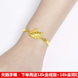 Hong Kong new genuine 999 foot gold swan bracelet gold bracelet bracelet women's sending ear nail ring