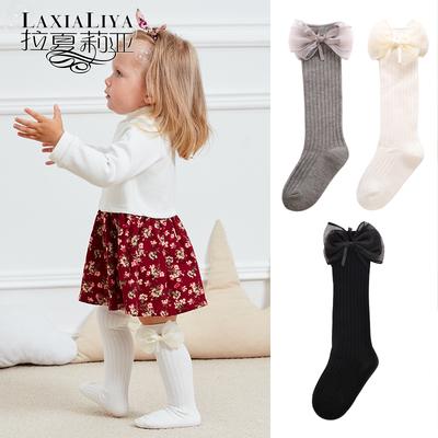儿童中筒袜宝宝长袜女童长筒花边女孩公主袜子舞蹈学生婴儿厚秋冬
