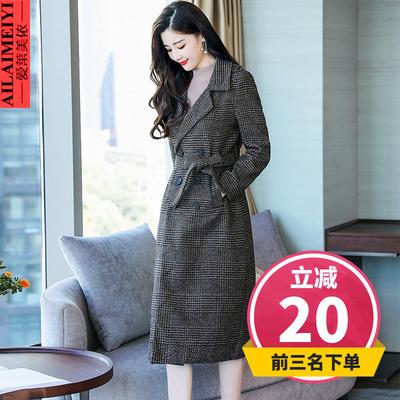 2018秋冬新品时尚修身韩版中长款大翻领毛呢外套呢子大衣女装上衣