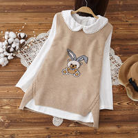 Sweet Korean version of pregnant women spring vest two-piece fashion tide mom knitted cotton shirt 2019 new maternity dress