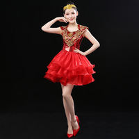 Modern dance costume 2019 new fashion sequins opening dance costumes short skirt adult costumes pettiskirt