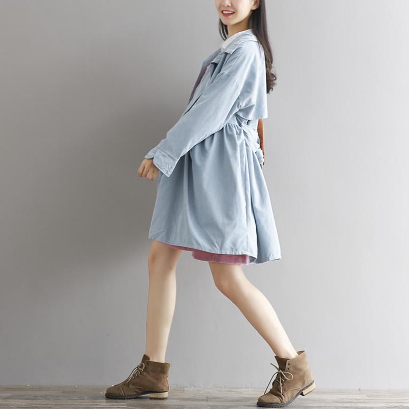 孕妇春装2018新韩版中长款大码上衣文艺宽松中长款风衣森女系外套