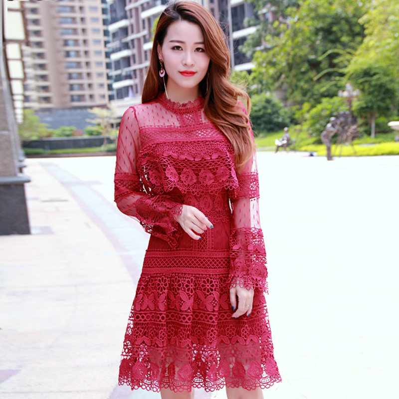 2018 autumn new women's ladies long-sleeved feminine water-soluble lace