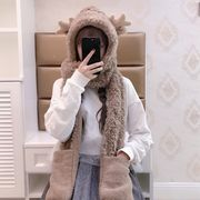 Christmas winter day soft sister warm cartoon antler panda fluffy hat scarf gloves three-piece female