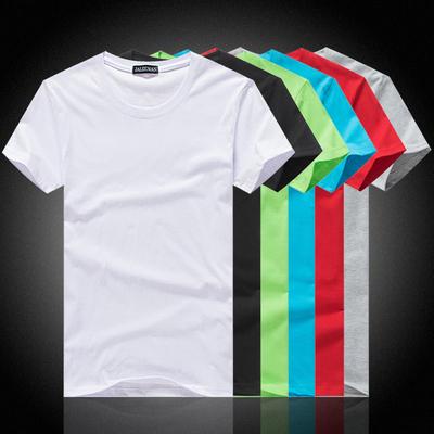 纯白T恤短袖男宽松打底衫批发空白纯棉圆领广告衫定制班服印logo
