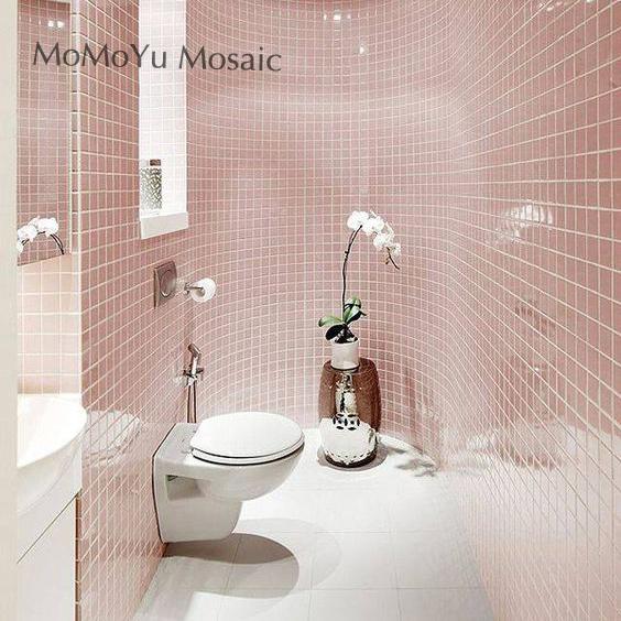 纯色 粉色陶瓷马赛克 浴室地面墙面防滑 女孩房装修 家装主材瓷砖
