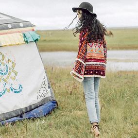 云南青海湖旅游必备女装开衫民族风防晒衣披肩流苏短外套外罩新款