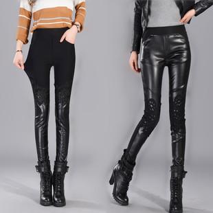 2017冬季蕾丝PU皮裤拼接外穿打底裤女新款高腰性感加绒加厚小脚裤