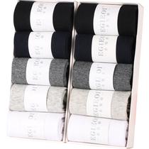 船袜子男士中筒防臭吸汗长短袜秋冬季黑色加厚款短筒四季男袜棉袜
