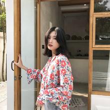 印花上衣 女夏季宽松设计感小众复古v领长袖 izp 法式玫瑰花衬衫图片