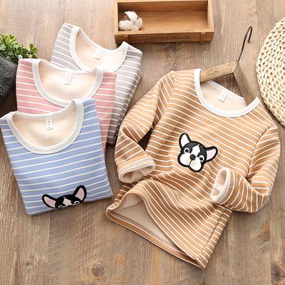 儿童加绒保暖上衣秋冬款新款韩版中小童男童女童加厚打底衫包邮潮