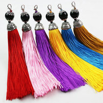 中国结流苏穗子包包饰品配件 多色小流苏合金盖帽黑珠流苏半成品