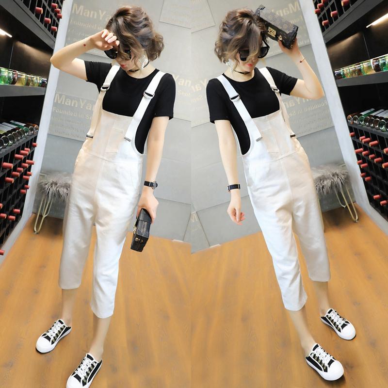 韩版女生牛仔背带裤
