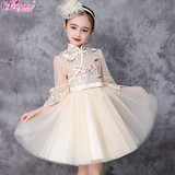 Autumn and summer girls cheongsam 2019 new mesh dress foreign style small host children's dress Tang suit princess dress