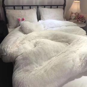 四件套云貂绒珊瑚绒水晶绒水貂绒冬天毛绒加绒纯白色1.8m床单被套