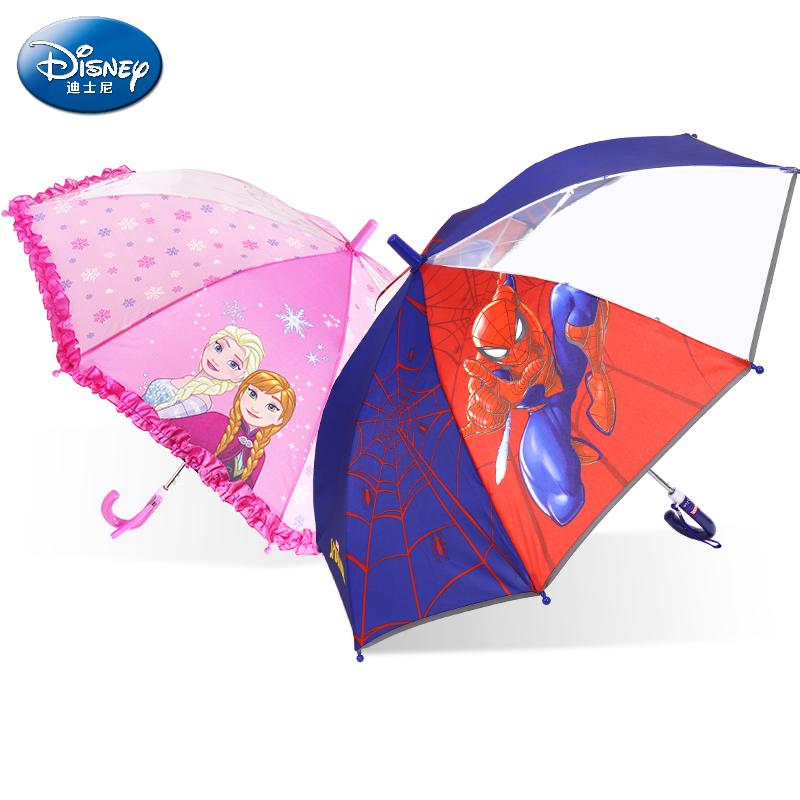 迪士尼儿童伞男女幼儿园小孩自动蜘蛛侠冰雪公主美队卡通宝宝雨伞