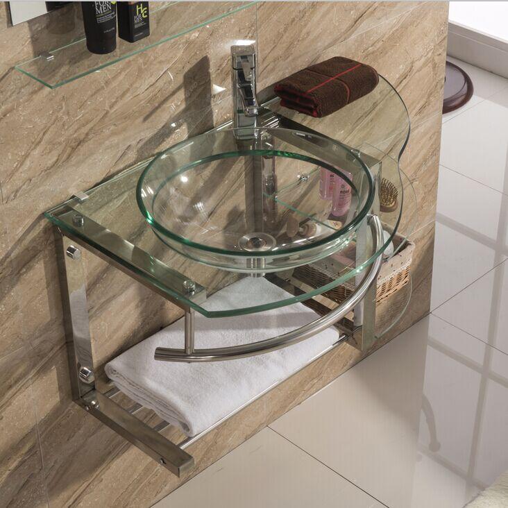 钢化玻璃浴室洗脸盆