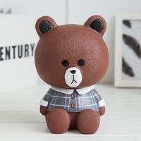 Cute cartoon brown bear child drop piggy bank piggy bank girl adult Korea creative plastic piggy bank