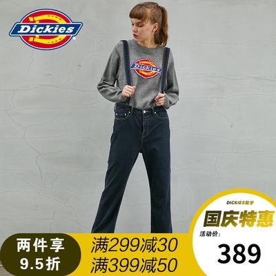 Dickies17新款可拆卸背带裤女长裤宽松 抓绒弹力牛仔裤173W40WD15