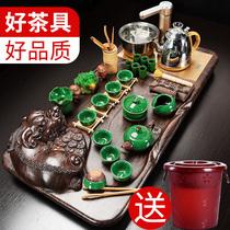 辉跃功夫茶具套装家用简约全自动茶壶茶道电热炉茶台实木茶盘