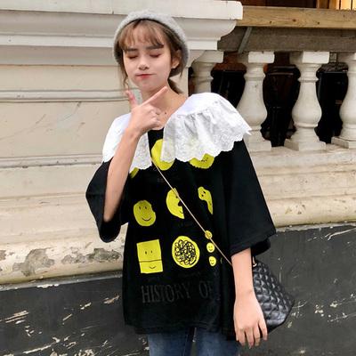 打底衫女学生春装2019新款韩版蕾丝娃娃领宽松卡通印花短袖T恤潮