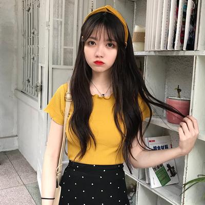 2018新款夏装女装韩版修身百搭坑条短款卷边领T恤短袖上衣纯色潮
