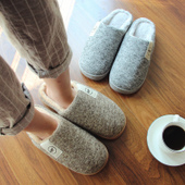 冬季男士 女冬天 男室内包跟厚底防滑家居家用保暖情侣毛拖鞋 棉拖鞋