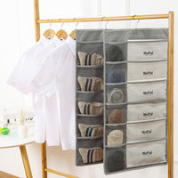 Wardrobe storage bag hanging bag Oxford cloth wall hanging fabric large capacity dormitory double underwear socks storage bag