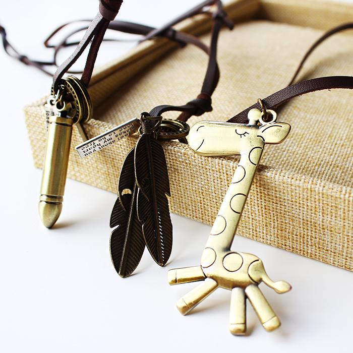 复古文艺牛皮绳锁钥匙眼镜十字架算盘吊坠挂件毛衣链 长款 项链