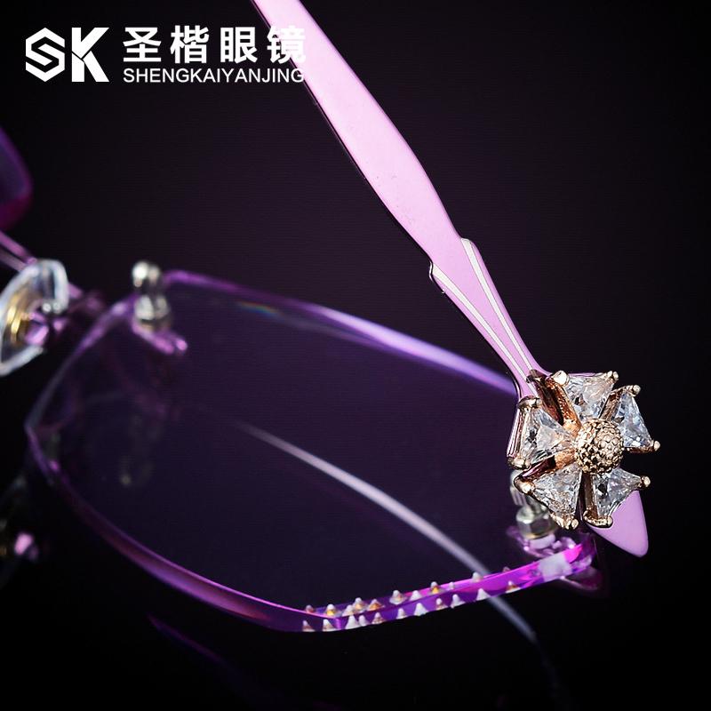 钻石切边眼镜 近视眼镜气质无框镜架 配眼镜女时尚镶钻超轻钛架潮