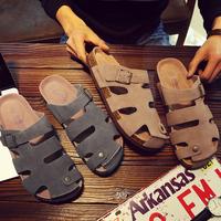 男士拖鞋镂空包头凉鞋男夏外穿情侣沙滩鞋时尚个性大码潮软木拖鞋