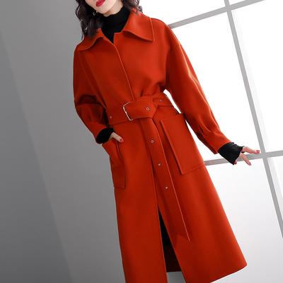 鹿歌2018冬装新款时尚红色长袖双面呢外套欧美气质保暖羊毛大衣女