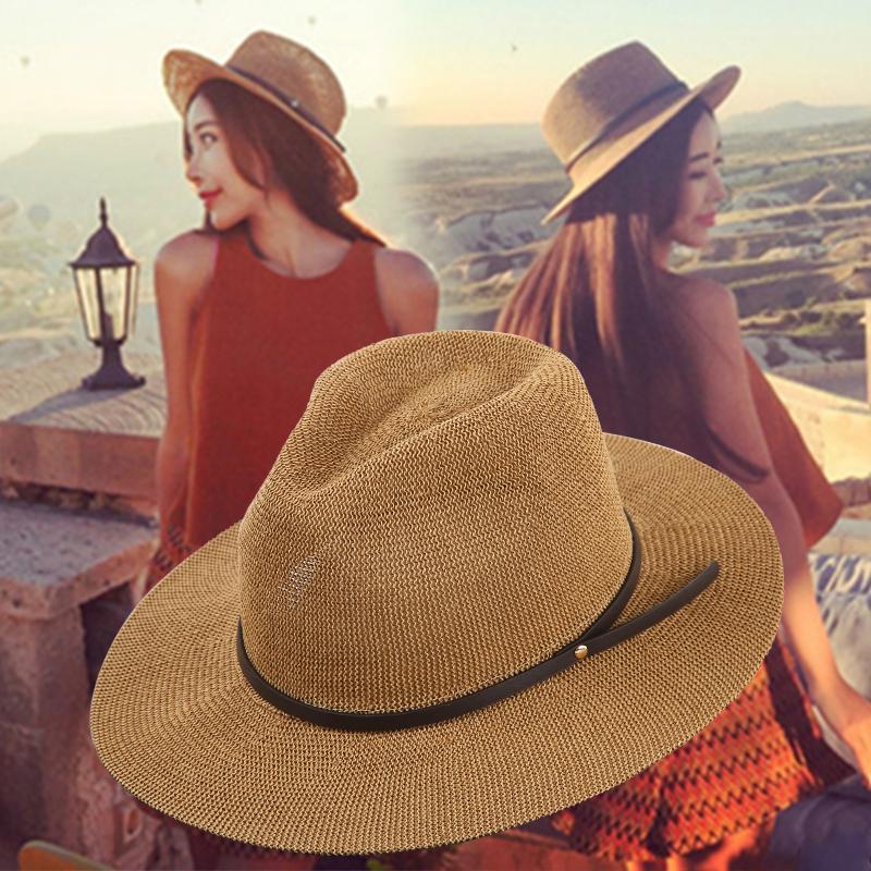 女士平檐草帽休闲光身出游宽檐遮阳帽凹造型礼帽单皮带简单爵士帽5元优惠券