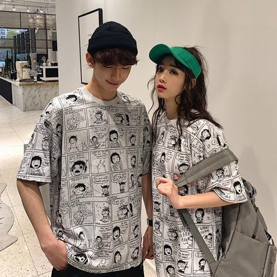 不一样的情侣装夏装2019新款套装印花涂鸦短袖T恤气质百搭班服女