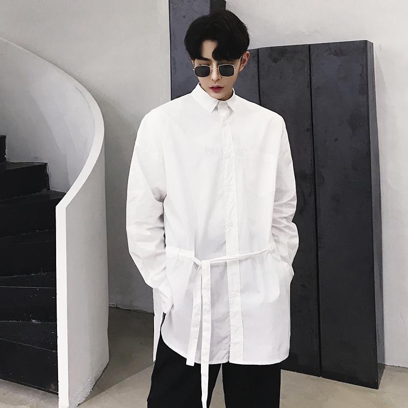 抽带长袖衬衫
