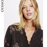 Oysho秋冬折扣 紫色抽象条纹植物花卉居家长袖衬衫女 31080893654