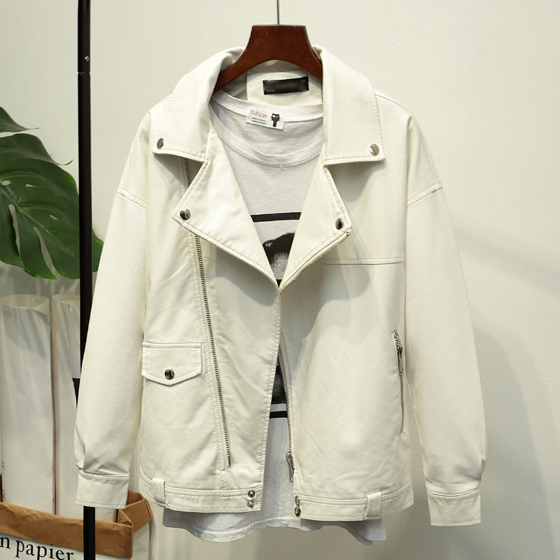 White loose women's pu leather jacket 2018 spring new women's leather jacket
