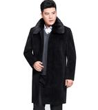 秋冬季中年男士加绒加厚长风衣中老年男装中长款大码毛呢大衣外套