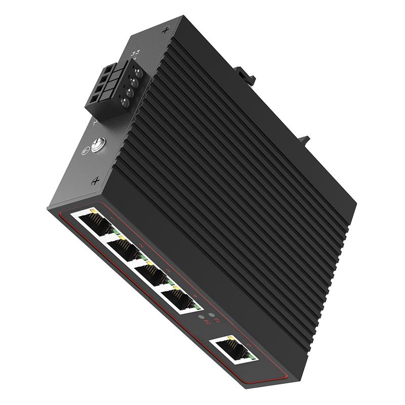 ✅感闻工业以太网交换机非管理型千兆5口DIN导轨式光纤监控设备