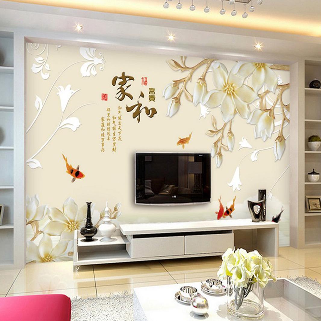 5d壁画电视背景墙壁纸卧室3d墙纸现代简约无纺布影视墙布装饰客厅